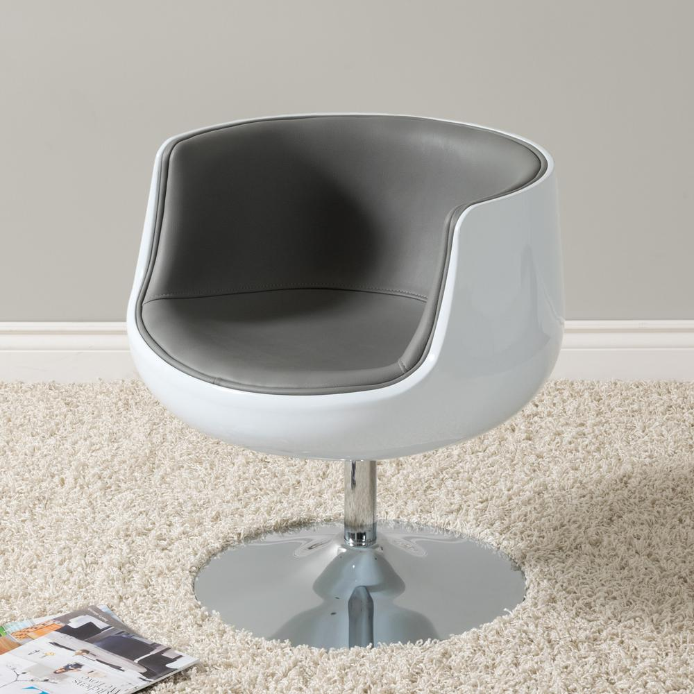 CorLiving Mod Modern Grey And White Bonded Leather Swivel Barrel Chair