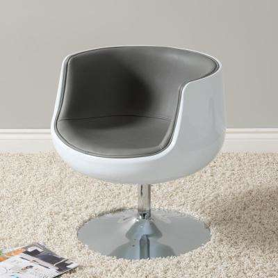 Mod Modern Grey and White Bonded Leather Swivel Barrel Chair