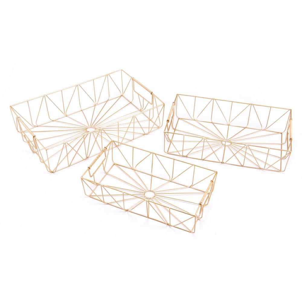 Gold Rectangular Trays (Set of 3)