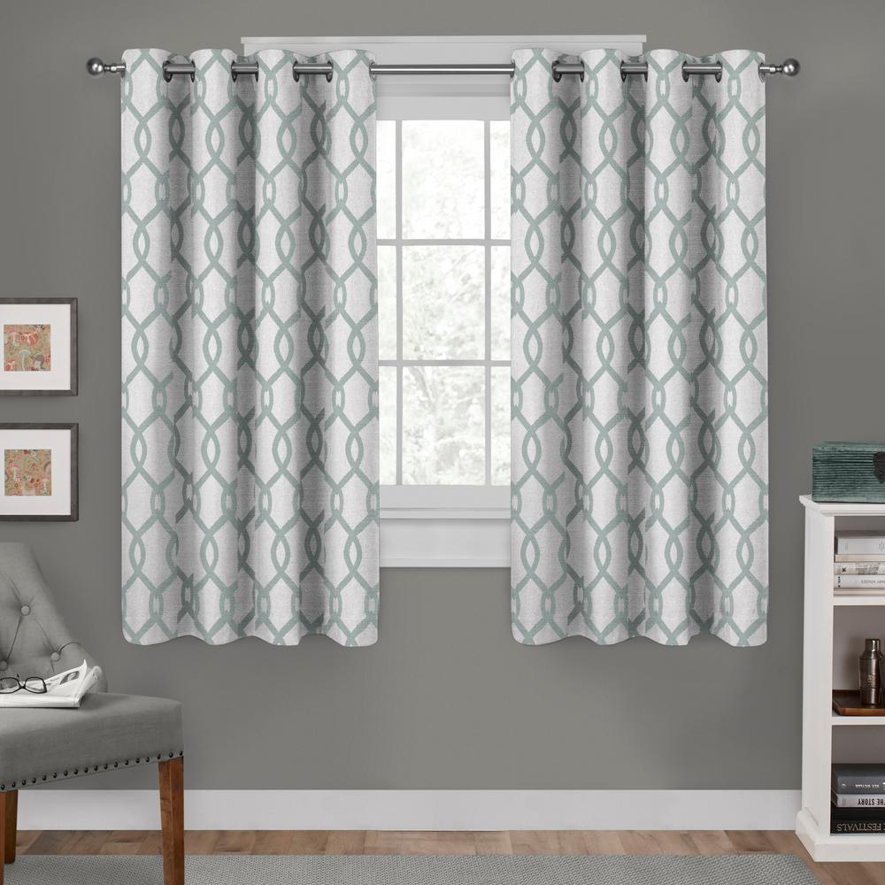 Kochi Seafoam Linen Blend Grommet Top Window Curtain