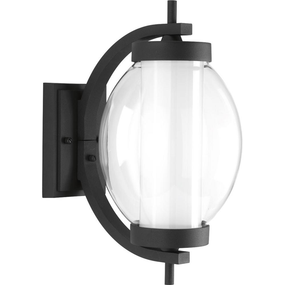Ellipsis Collection 9-Watt Outdoor Black Integrated LED Wall Lantern