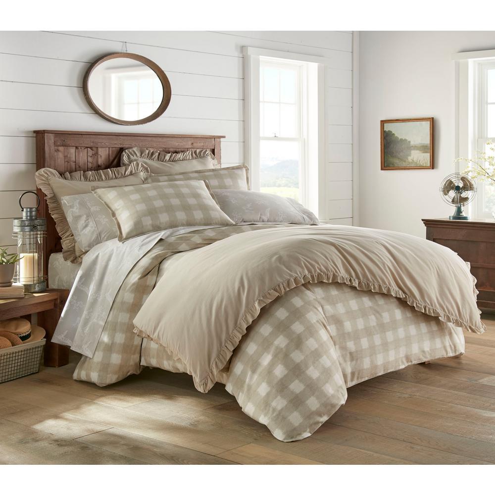 Braxton Beige 3-Piece Cotton Comforter/Sham Set, King