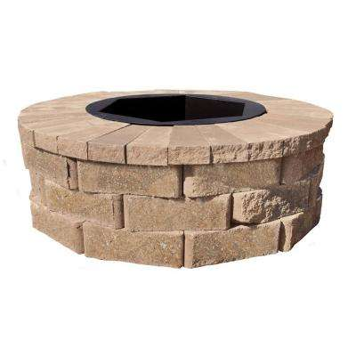 40 in. W x 14 in. H Rockwall Round Fire Pit Kit - Pecan