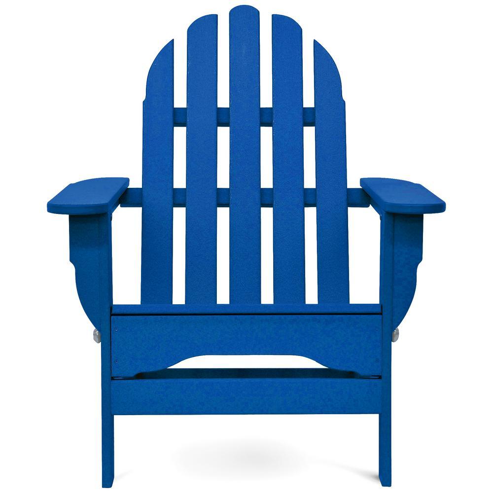 Icon Royal Blue Plastic Folding Adirondack Chair