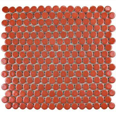 Hudson Penny Round Vermilio 12 in. x 12-5/8 in. x 5 mm Porcelain Mosaic Tile (10.2 sq. ft. / case)