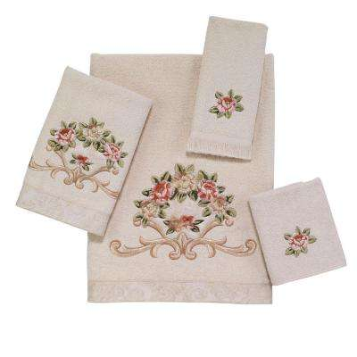 Rosefan 4-Piece Bath Towel Set in Ivory