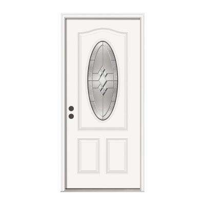 36 in. x 80 in. 3/4 Oval Lite Kingston Primed Steel Prehung Right-Hand Inswing Front Door w/Brickmould