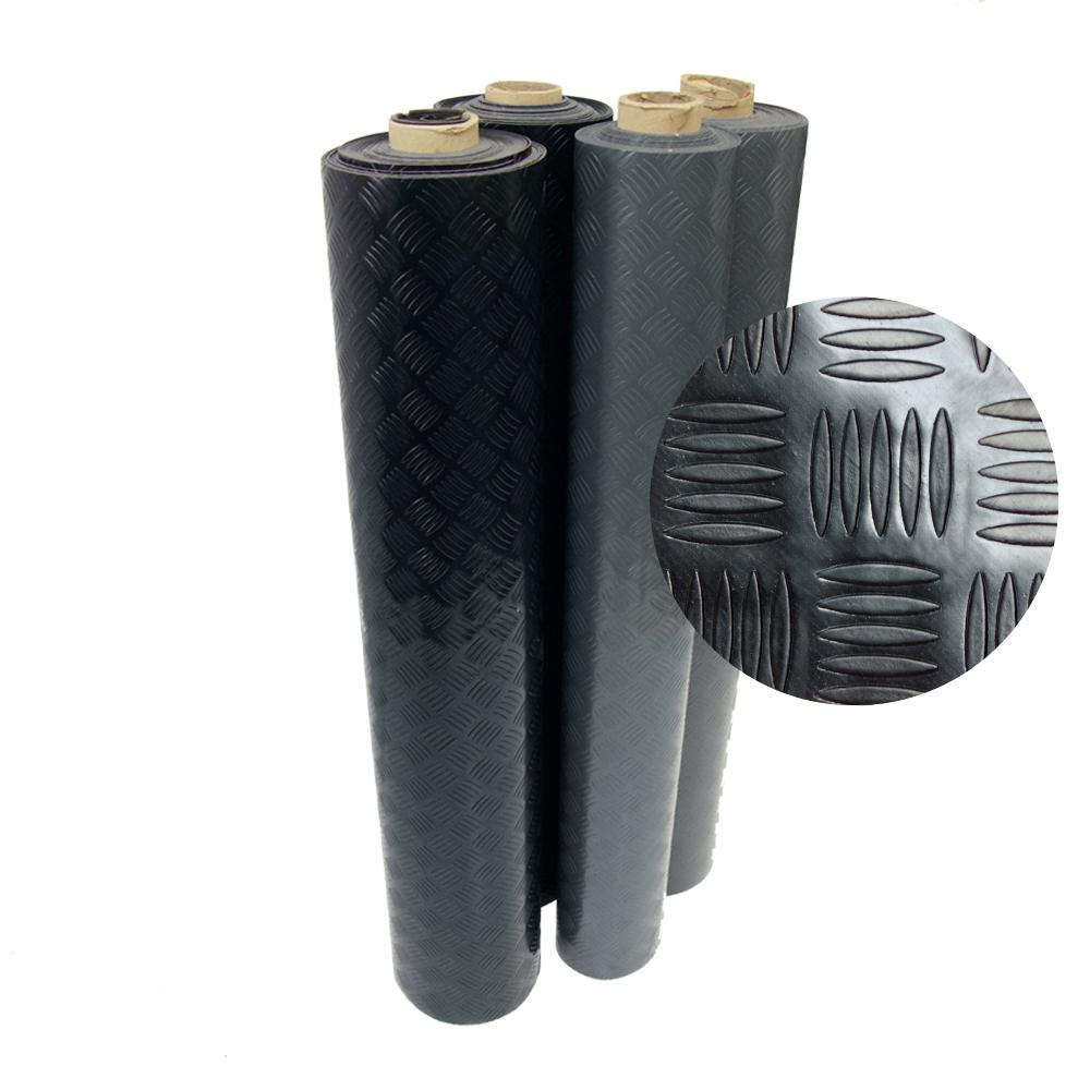 Rubber Cal Diamond Grip 4 Ft X 20 Ft Black Commercial Pvc Flooring 03 166 2mm Bk 20 The Home Depot