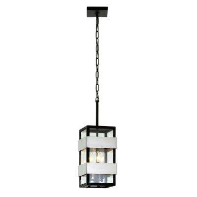Dana Point Textured Black 3-Light 7.75 in. W Outdoor Hanging Light with Clear Glass