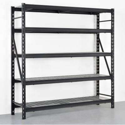 Black 5-Tier Heavy Duty Industrial Welded Steel Garage Shelving Unit (90 in. W x 90 in. H x 24 in. D)