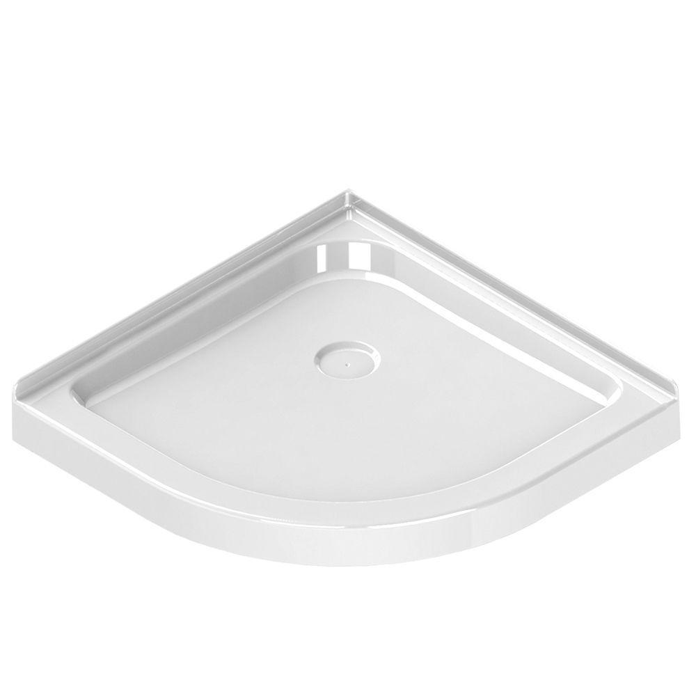 36 in. x 36 in. Single Threshold Neo-Round Shower Base in White