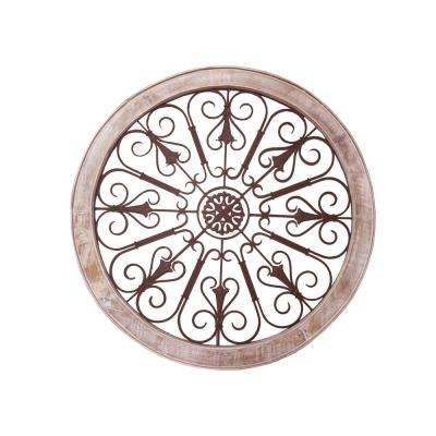 Cream and Brown Intricate Metal Scroll Work Wall Decor with Wooden Frame