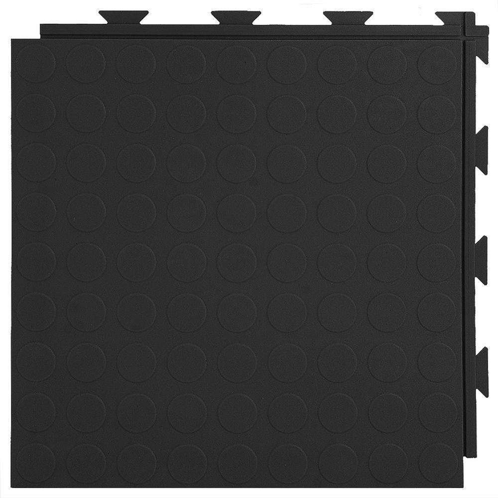 Greatmats Hiddenlock Coin Top 1 ft. x 1 ft. x 0.25 in. Black PVC Plastic Interlocking Garage Floor Tile