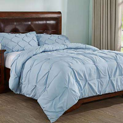 Blue King Pleated Down Alternative Comforter Set