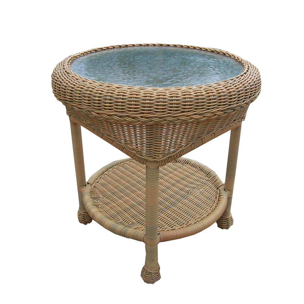Honey Wicker Outdoor Side Table