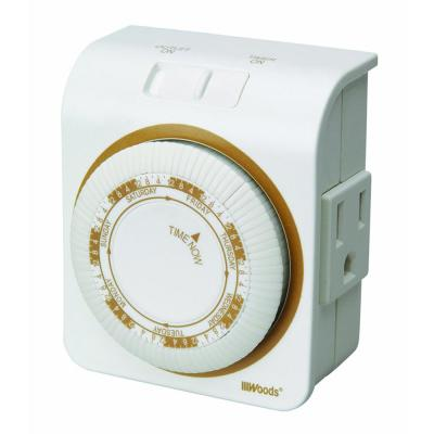 15-Amp 7-Day Indoor Plug-In Heavy-Duty Dual-Outlet Mechanical Timer, White