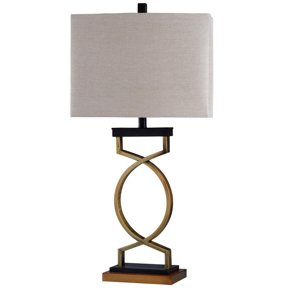 Delicieux Black/Gold Table Lamp With Beige Styrene Shade