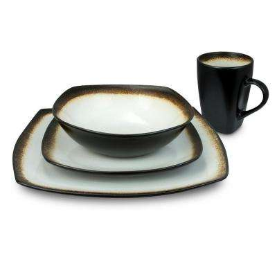 Haus 16-Piece Brown and White Dinnerware Set
