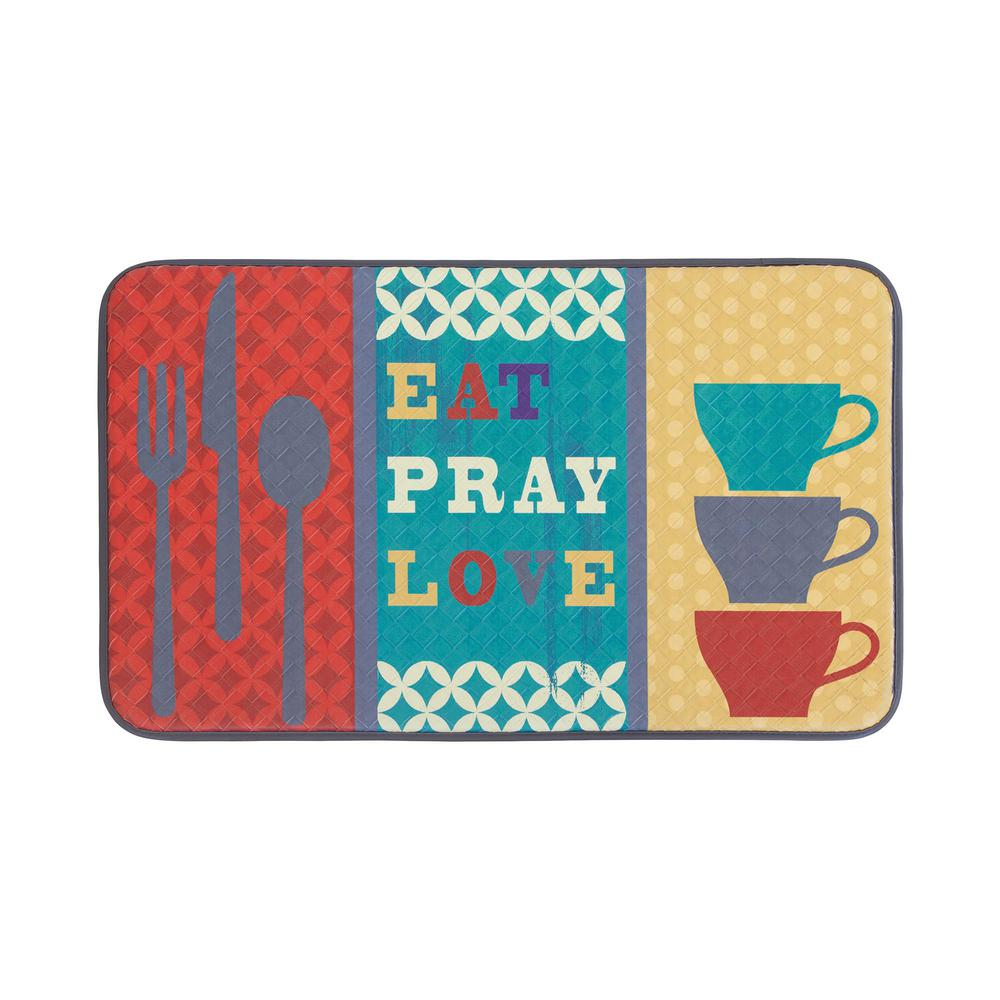 Chef Gear Eat Pray Love 18 in. x 30 in. Anti-Fatigue Faux Leather ...