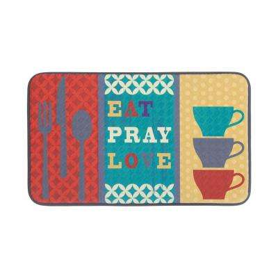 Eat Pray Love 18 in. x 30 in. Anti-Fatigue Faux Leather Kitchen Mat