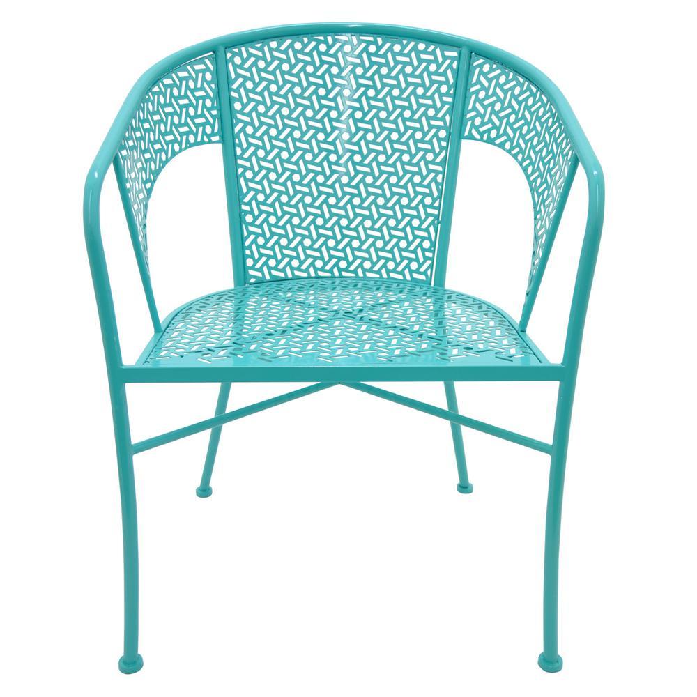 32.5 in. Blue Metal Chair