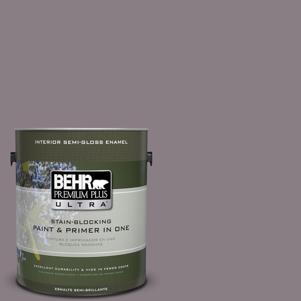 BEHR Premium Plus Ultra 1-gal. #N570-4 Classy Plum Semi-Gloss Enamel Interior Paint