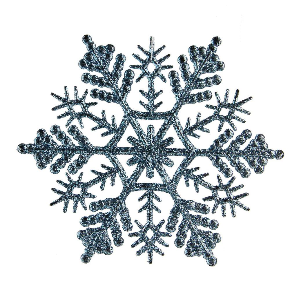 Northlight Baby Blue Glitter Snowflake Christmas Ornaments (Pack of ...