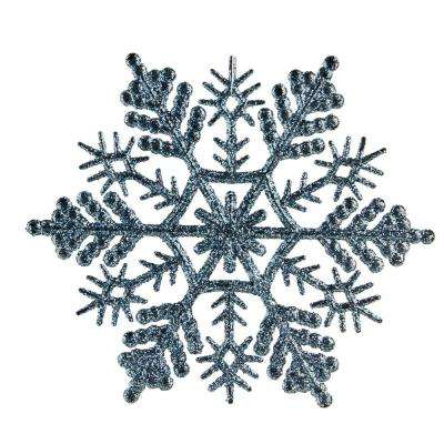 baby blue glitter snowflake christmas ornaments pack of 24 - Snowflake Christmas Decorations