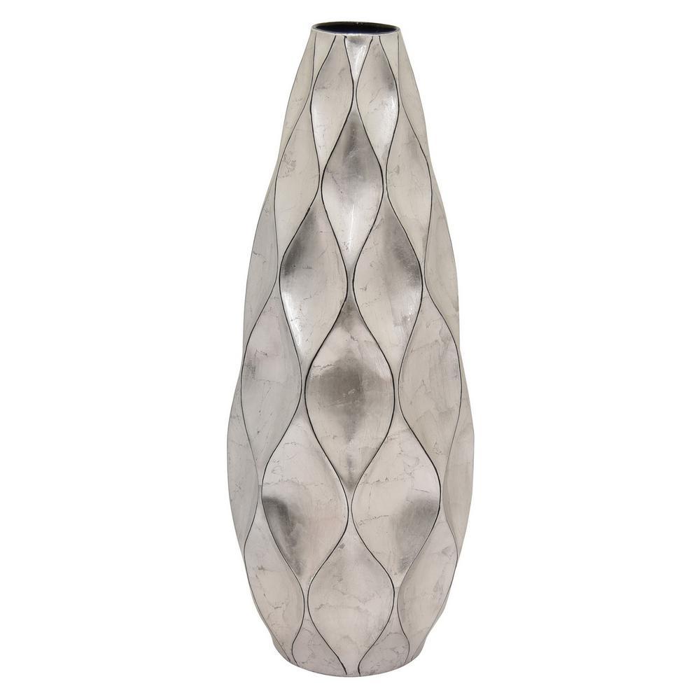 9.25 in. x 9.25 in. x 24.5 in. Silver Ceramic Vase