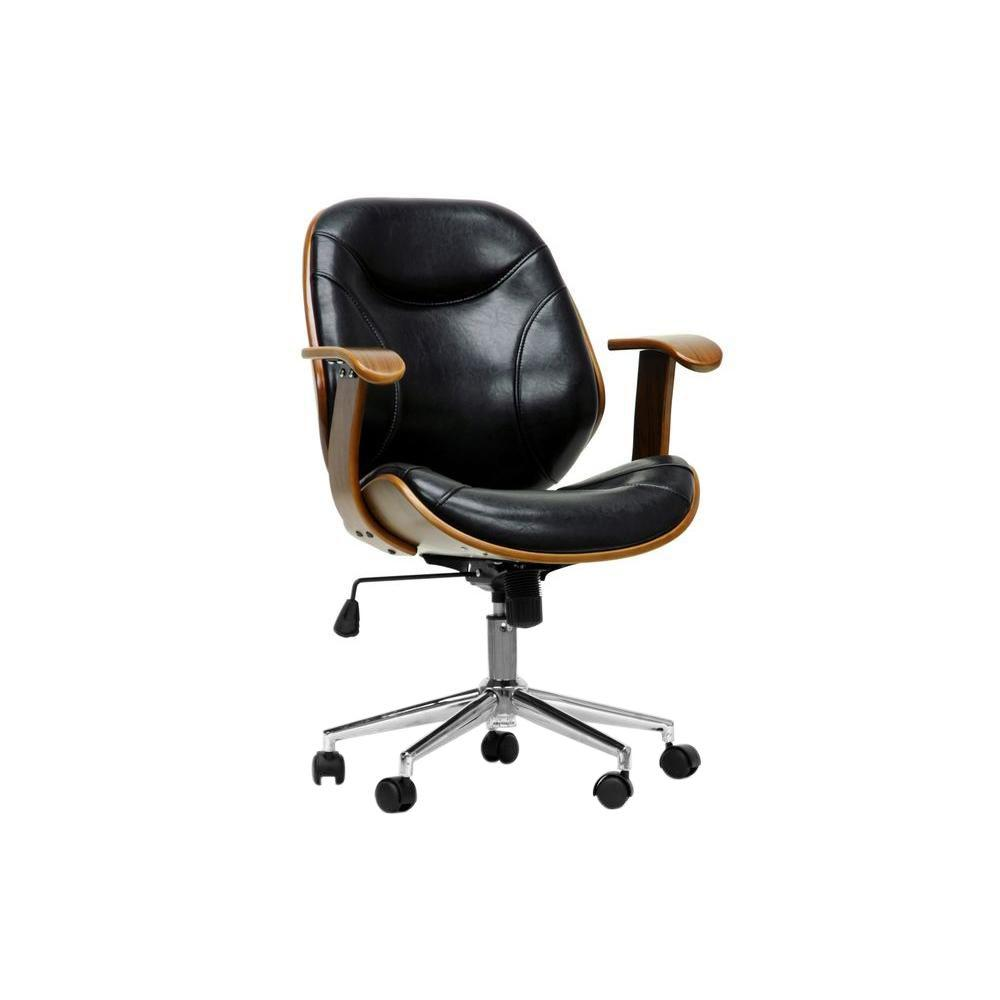 Baxton Studio Rathburn Black Faux Leather Office Chair