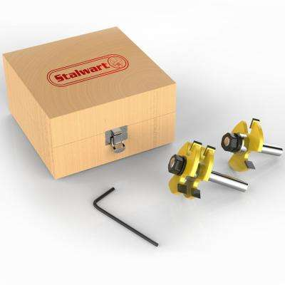 Tungsten Tongue and Groove Bit Set with Wood Storage Box (2-Piece)