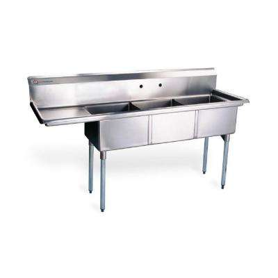 48.5 in. x 19.5 in. x 43.75 in. Compartment Commercial Kitchen Sink in Stainless Steel Silver