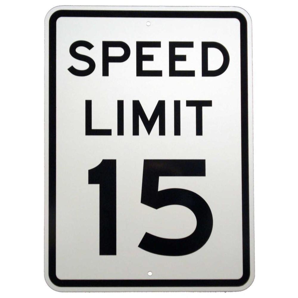 Brady 24 inch x 18 inch Aluminum Speed Limit 15 MPH Sign by Brady