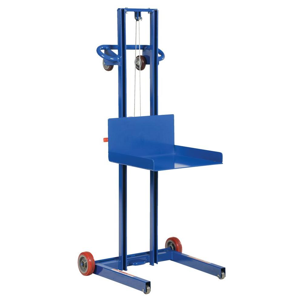 Vestil 500 lb. Steel Low Profile Winch Operated Lite Load Lift with Fixed Wheel