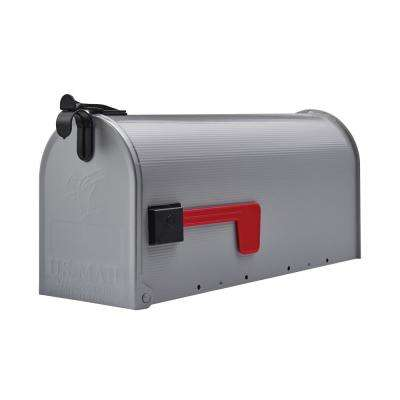 Grayson Galvanized Steel Medium Post-Mount Mailbox in Grey