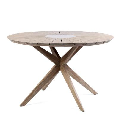 Oasis Teak Eucalyptus Wood Round Outdoor Patio Dining Table with Gray Super Stone Center