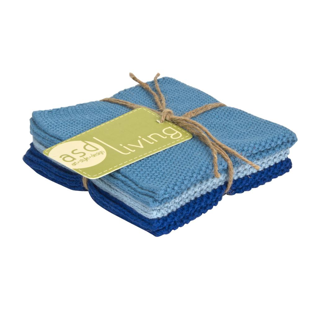 Art Style Design Living Set of 3 Cotton 10x10 Dishcloths, Sky Blue ...