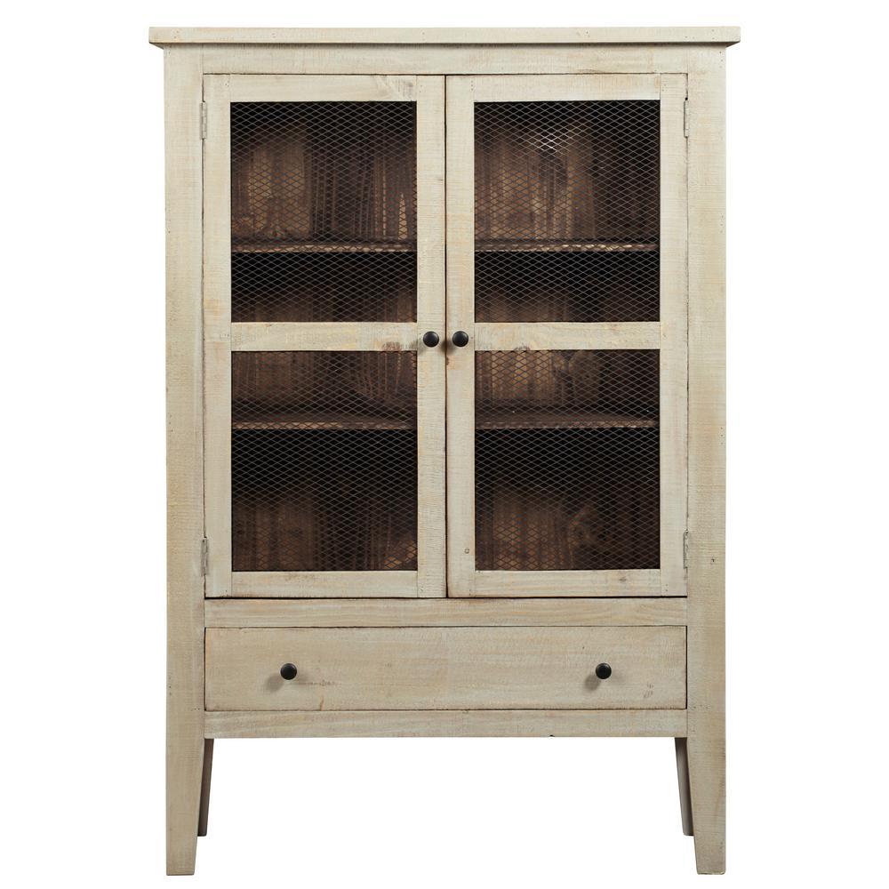 Isabella Washed Linen/Pine Display Cabinet