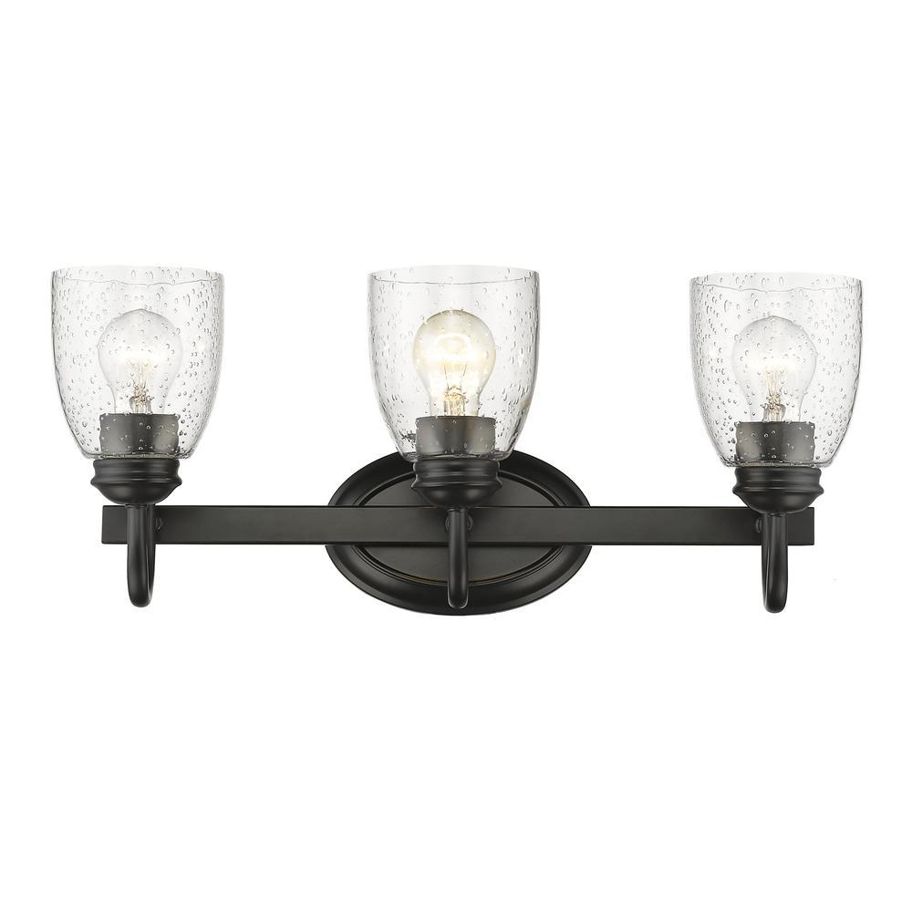 Black Bathroom Light: Golden Lighting Parrish 3-Light Black Bath Light-8001-BA3