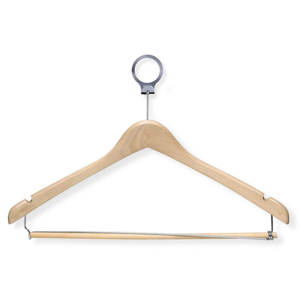 Honey-Can-Do Maple Hotel Suit Hangers with Locking Bar (24-Pack)