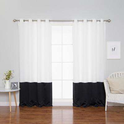 84 in. L Polyester Oxford Black Colorblock Curtains in White (2-Pack)