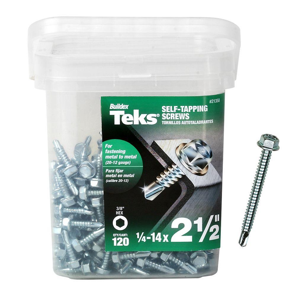 Teks 14 X 2 1 2 In Hex Washer Head Drill Point Screw