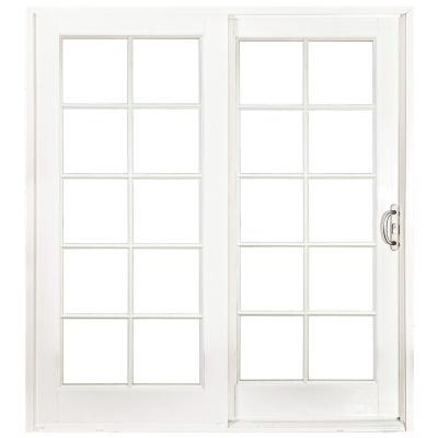 60 in. x 80 in. Woodgrain Interior and Smooth White Exterior Right-Hand Composite Sliding Patio Door with 10-Lite GBG
