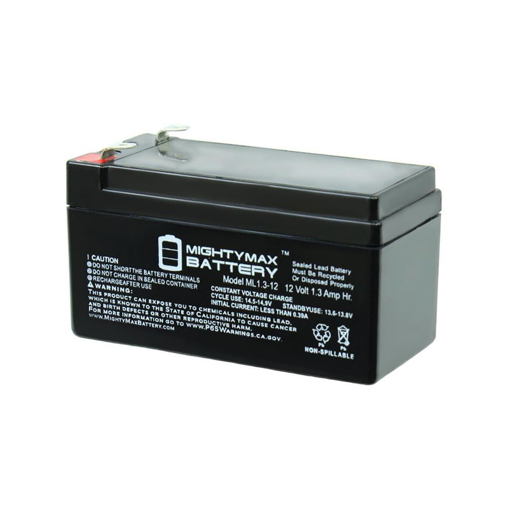 12-Volt 1.3 Ah Rechargeable F1 Terminal Sealed Lead Acid (SLA) Battery