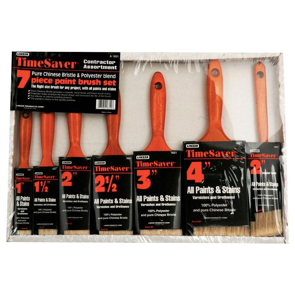 Linzer 7 Piece Flat And Angle Sash Time Saver Polyester Paint Brush Set