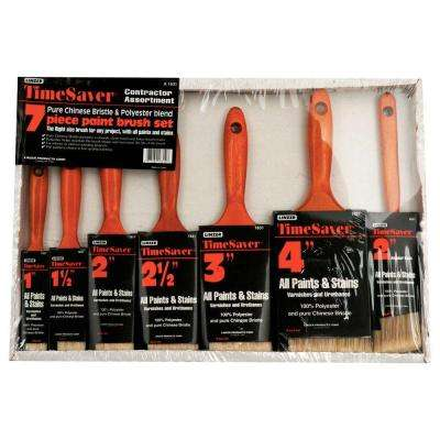 7-piece Flat and Angle Sash Time Saver Polyester Paint Brush Set