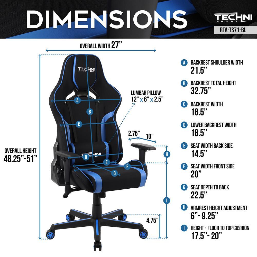 Enjoyable Techni Sport Blue Technisport Tsf 71 Fabric Office Pc Gaming Andrewgaddart Wooden Chair Designs For Living Room Andrewgaddartcom