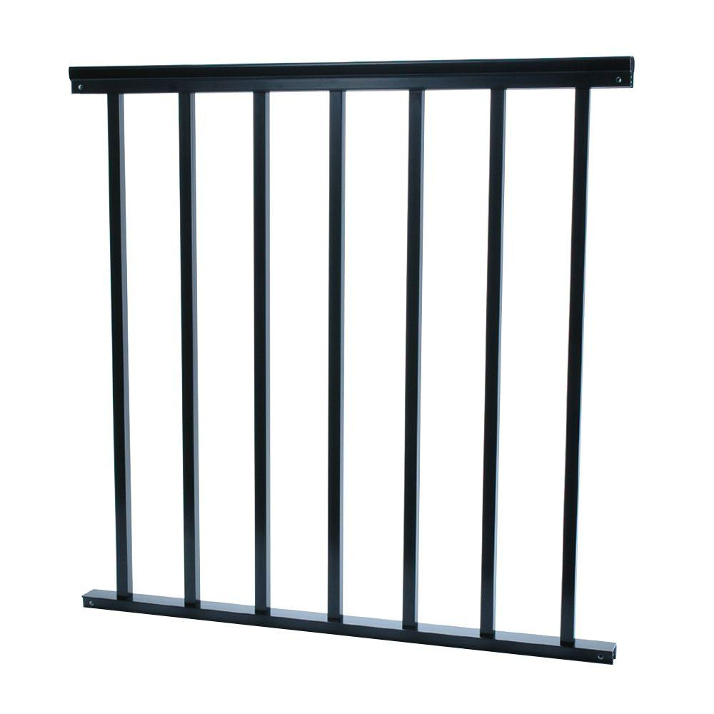 udecx 3 4 in x 32 in x 36 in aluminum black baluster railing rsr944 the home depot. Black Bedroom Furniture Sets. Home Design Ideas