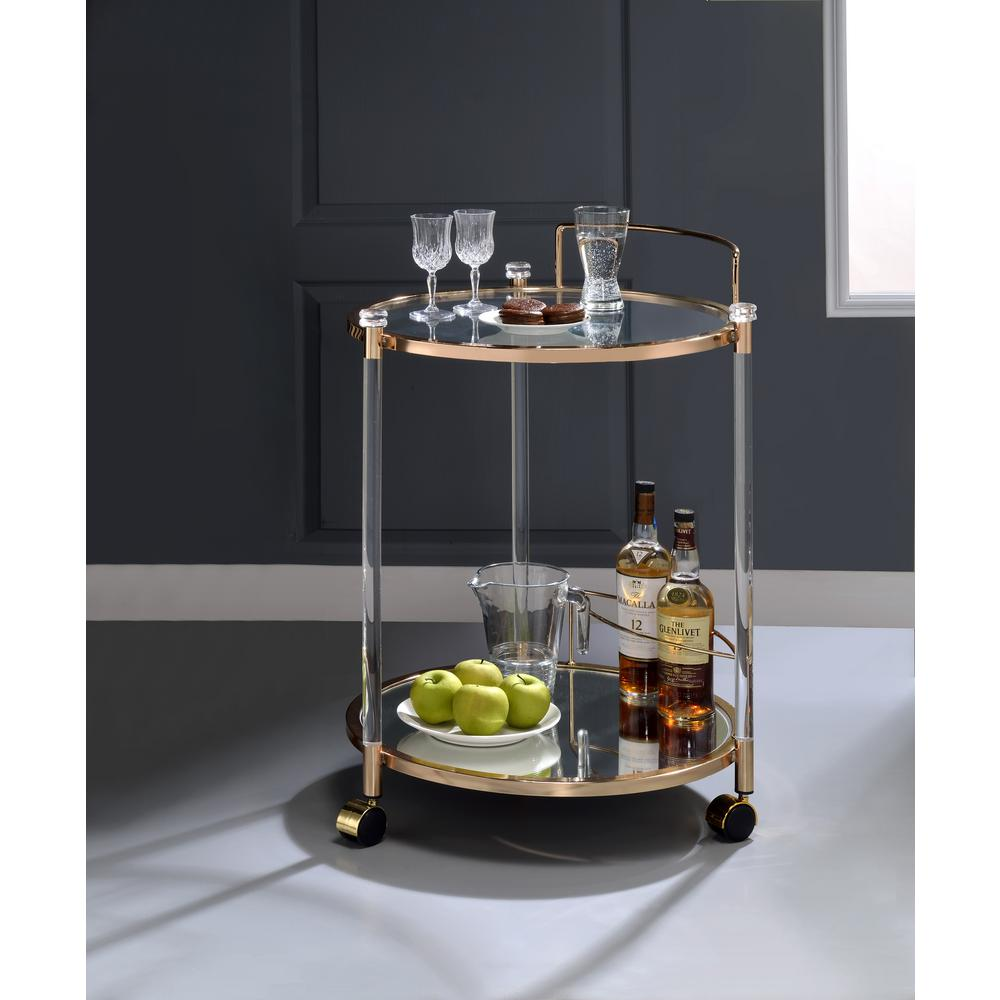 Todd Clear Glass and Gold Serving Cart