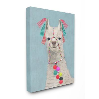 """16 in. x 20 in.  """"Llama Adorned in Tassels and Pom Poms Painting"""" by Victoria Borges Canvas Wall Art"""